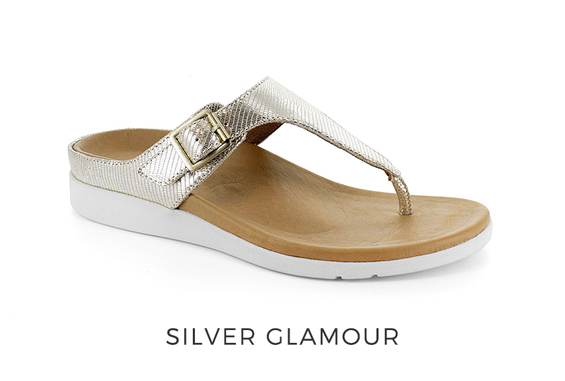 Antibe silver glamour orthotic sandal